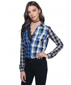 Women's Gradient Checkered Plaid Button Up Top