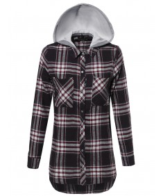 Women's Checkered Plaid Button Up Shirt With Detachable Hood