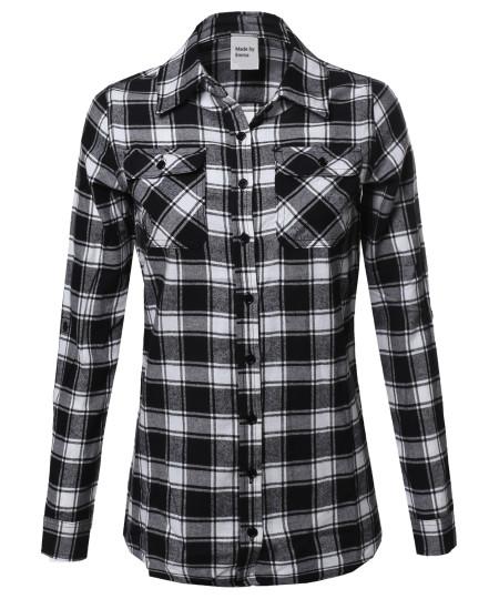 Women's Plaid Checker Button Down Shirt Roll Up Sleeves