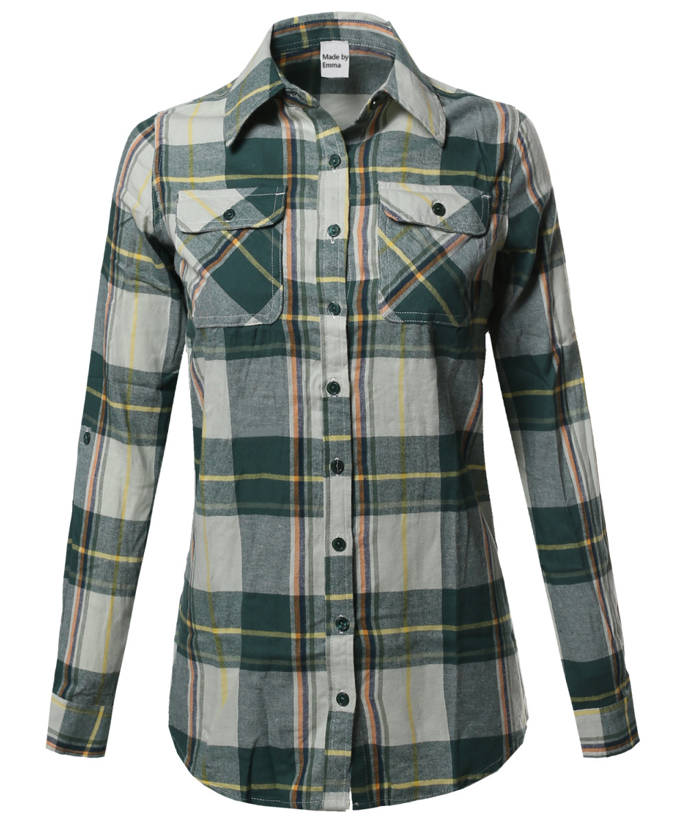 Women's Casual Plaid Checkered Roll Up Sleeves Button Down Shirt ...