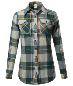 Women's Plaid Checker Button Down Shirt Roll Up Sleeves