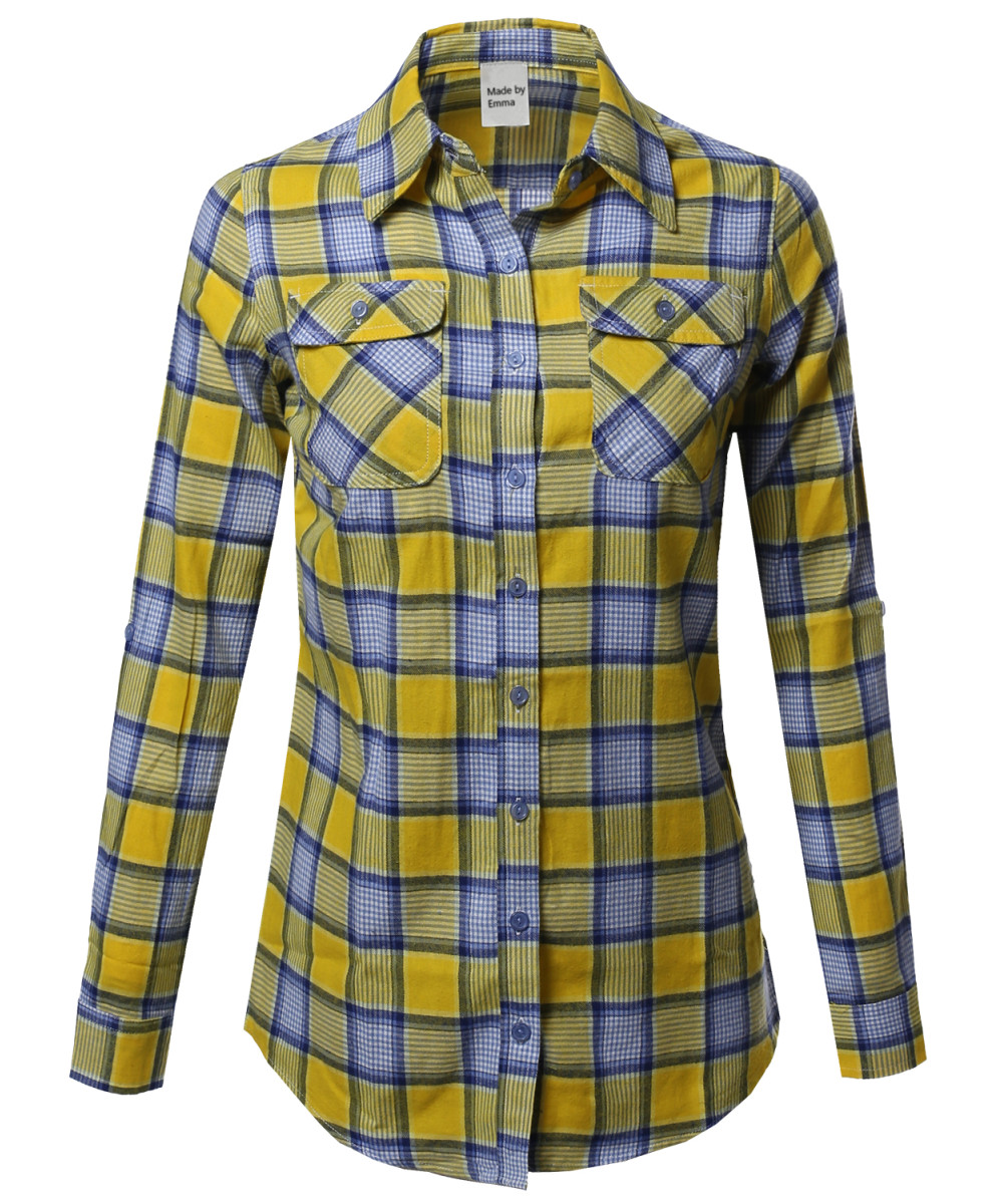 Women 39 S Casual Plaid Checkered Roll Up Sleeves Button Down