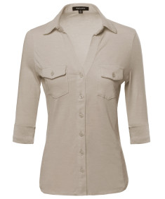 Women's 3/4 Sleeve Button Down Cotton Spandex Top W/ Side Rib Panel