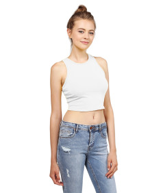 Women's Basic Solid Sleeveless Crop Tank Top