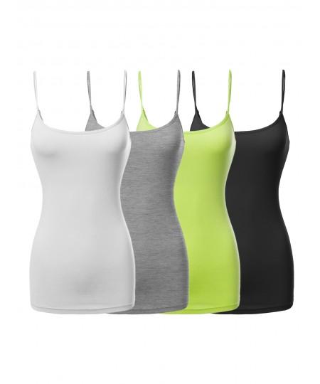 Women's Basic Solid Long Length Adjustable Spaghetti Strap Tank Top
