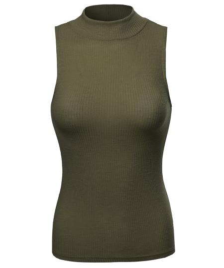 Women's Solid Stretch Ribbed Sleeveless Mock Turtle Neck Knit Top