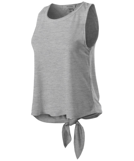 Women's Casual Lightweight Loose Fit Sleeveless Open Tie Back Tank Top
