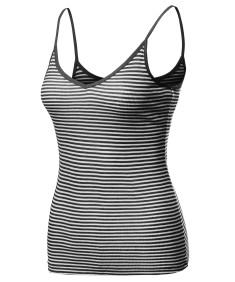 Women's Basic Stripe Spaghetti Strap V-Neck Cami Tank Top