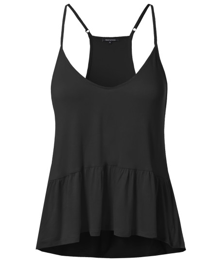 Women's Swing Fit Stretchy Spaghetti Strap Fit & Flare Waist Tank Top