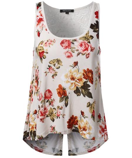 Women's Floral Crochet Open Cut-Out Back High-Low Sleeveless Tank Top