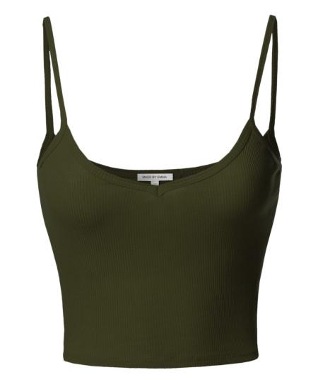 Women's Basic Solid Sleeveless Ripped Spaghetti Strap Crop Tank Top