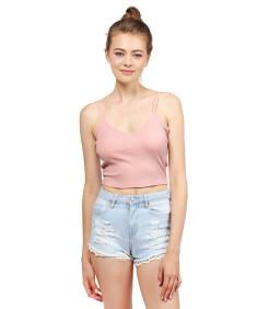 Women's Basic Solid Sleeveless Ripped Spaghetti Strap Crop Tank Top