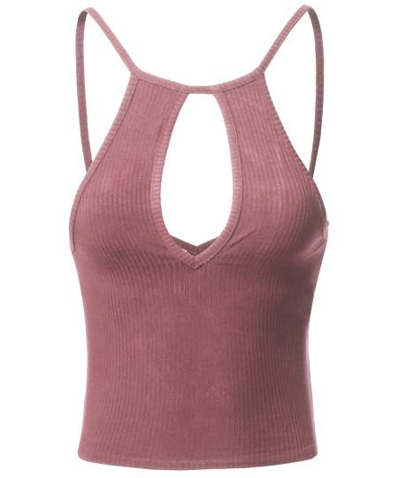 Women's Basic Solid Sleeveless Ripped Cross Back Strap Crop Tank Top