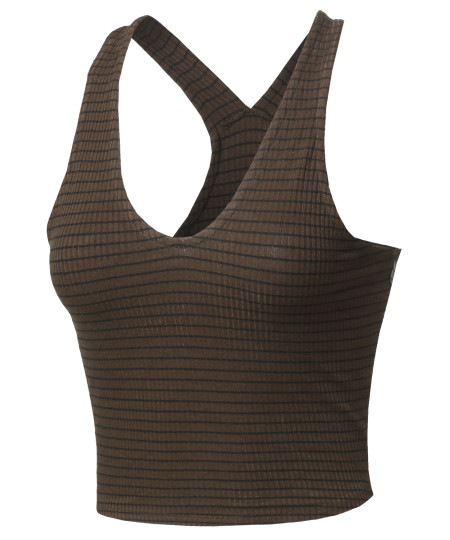Women's Basic Solid Sleeveless Ripped Racer Back Crop Tank Top
