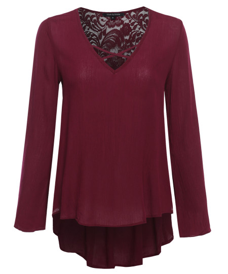 Women's Boho Long Sleeve Top with Lace Back