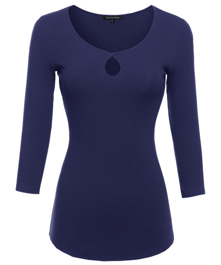Women's Ribbed 3/4 Sleeve Top w/ Keyhole Design