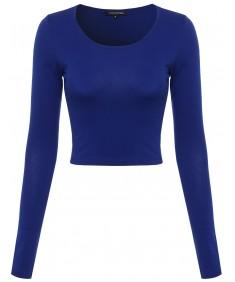 Women's Scoop Neck Long Sleeve Crop Top
