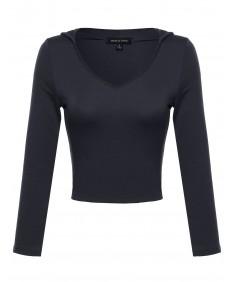 Women's 3/4 Sleeve Crop Top with Hood
