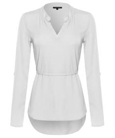 Women's Henley Long Sleeve Blouse w/ Waist Drawstrings