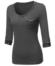 Women's Basic Stripe V-neck T-shirt With 3/4 Sleeves