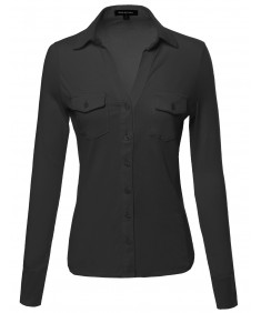 Women's Button Down Cotton Top W/ Side Rib Panel & Chest Pockets
