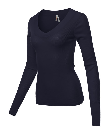 Women's Basic Solid V-Neck Henley Lace Long Sleeves Thermal Tee