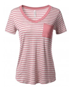Women's Short Sleeve V-Neck Stripe Top