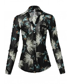 Women's Casual Printed See-through Mesh Blouse Shirt
