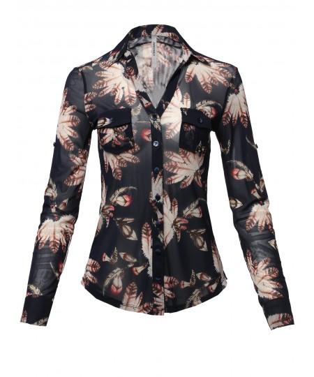 Women's Casual Printed See-through Mesh Blouse Shirt