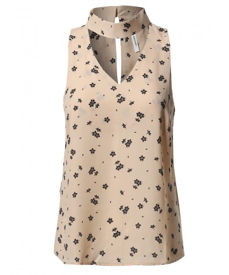 Women's Solid Sleeveless Turtleneck Choker Polka Dot Chiffon Blouse Top