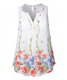 Women's Lightweight V-Neck Sleeveless Floral Print Chiffon Blouse Top