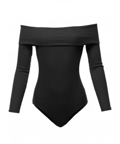 Women's Solid Off The Shoulder Bodycon Knitted Bodysuit