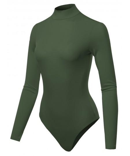 Women's Solid Long Sleeve Mock Neck Bodysuit