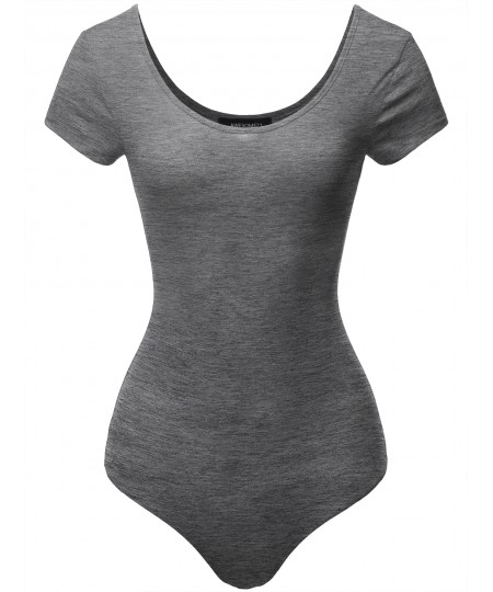 Women's Solid Cotton Based Scoop Front and Back Cap Sleeves Bodysuit