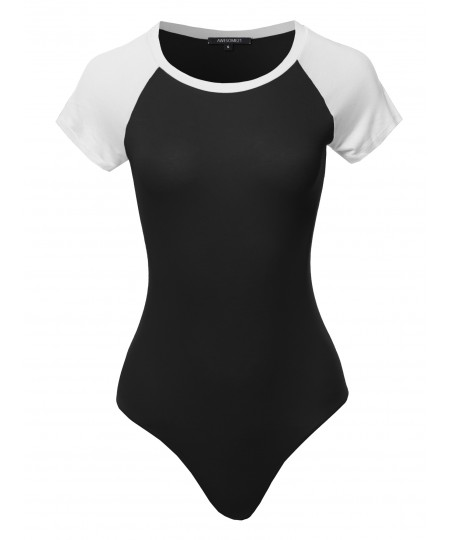Women's Casual Raglan Short Sleeve Bodysuit