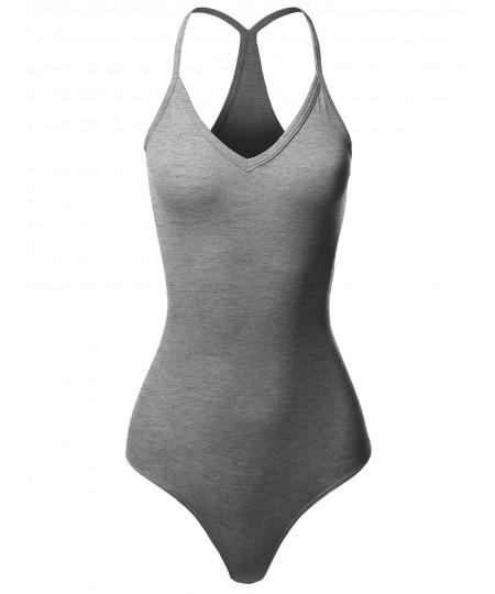 Women's Solid V-Neck Camisole Racer-Back Bodysuit