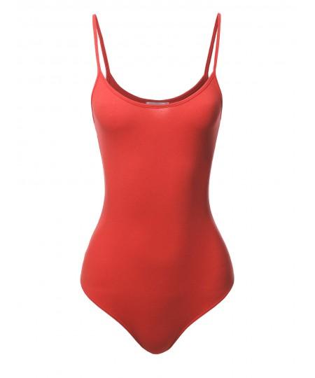 Women's Solid Crew Neck Spaghetti Strap Bodysuit