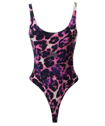 Women's Basic Solid Double Layered Sleeveless Bodysuit