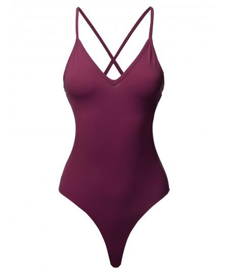 Women's Solid Deep V-neck Criss Cross Back Bodysuit