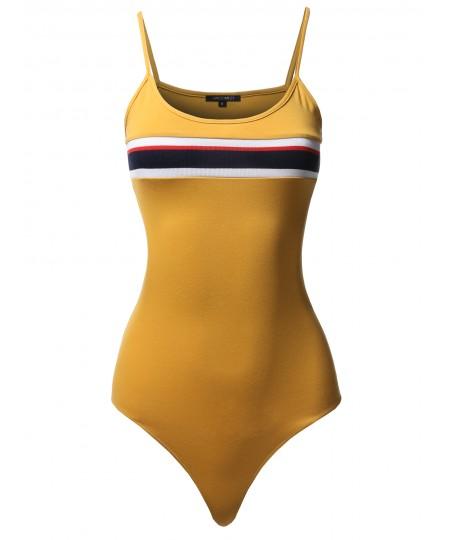 Women's Casual Chest Stripe Detail Camisole Bodysuit