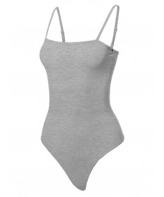 Women's Solid Camisole Strap Basic Bodysuit