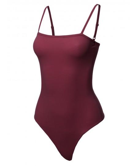 Women's Solid Camisole Strap Basic Bodysuit