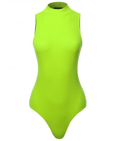 Women's Solid Sleeveless Mock Neck Bodysuit