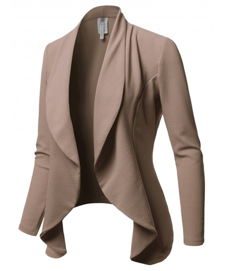 Women's Solid Formal Office Style Open Front Long Sleeves Blazer - Made in USA