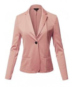 Women's Solid Formal Single Button Up Long Sleeve Blazer Jacket