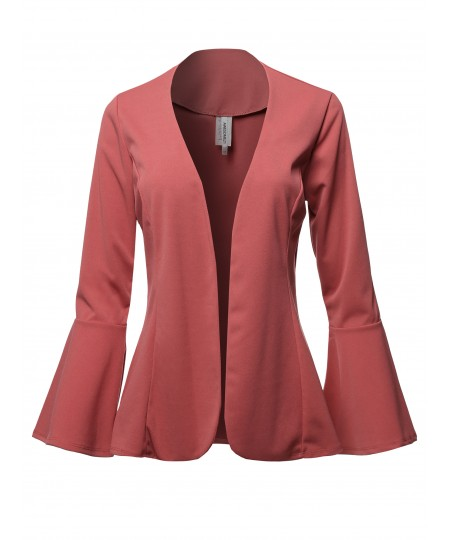 Women's Casual Solid Collarless Bell Sleeve Open Blazer - Made in USA
