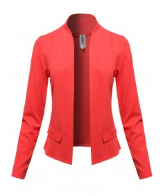 Women's Solid Classic Lightweight Shrug Blazer Jacket - Made in USA