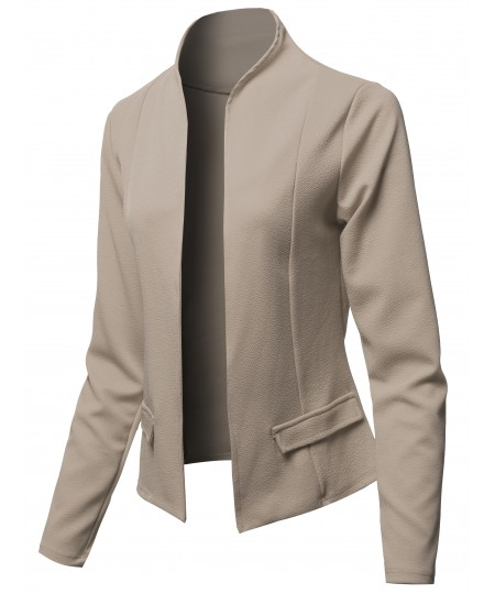Women's Solid Classic Lightweight Shrug Blazer Jacket - Made in USA