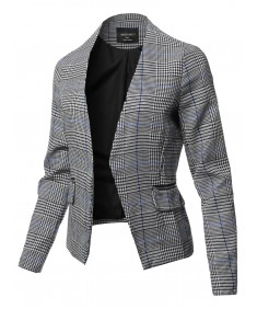 Women's Casual Long Sleeve No Collar Open Front Check Blazer Jacket