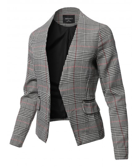 Women's Casual Long Sleeve No Collar Open Front Check Blazer Jacket
